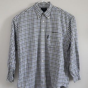 Faconnable Mens White Checkered Long Sleeve Shirt